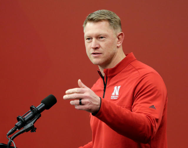 Nebraska coach Scott Frost speaks during an NCAA college football news conference in Lincoln, Neb. (AP Photo/Nati Harnik, File)