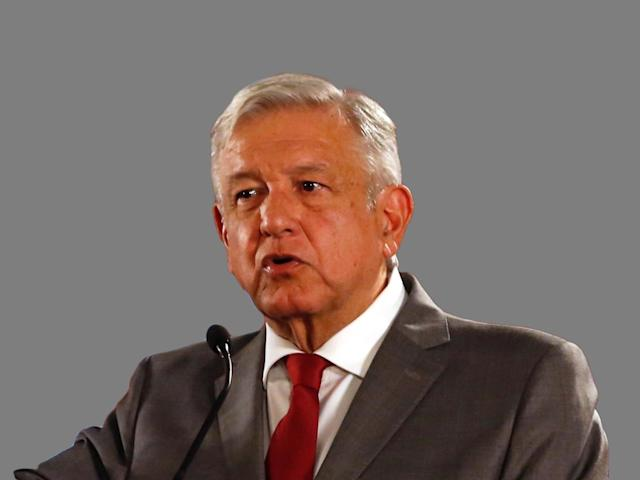 Andres Manuel Lopez Obrador headshot, as Mexico president, graphic element on gray