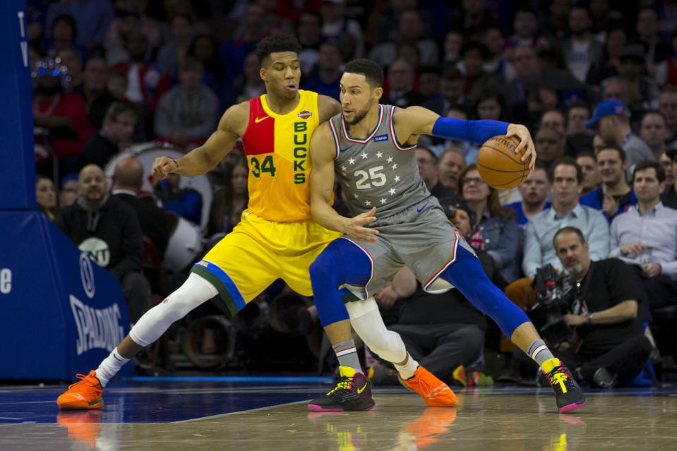 Giannis Antetokounmpo and Ben Simmons bring international flavor to the NBA on Christmas. (Mitchell Leff/Getty Images)