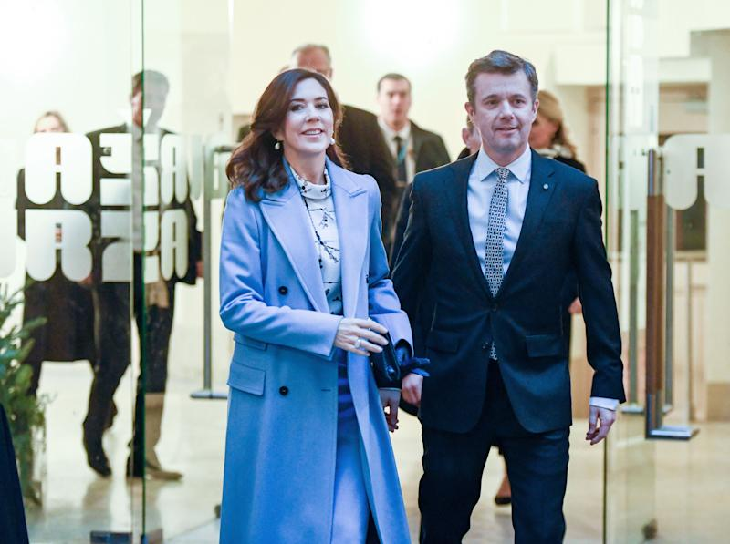 "Denmark's Crown princess Mary and Crown prince Frederik arrive to attend the creative industries event ""Creative Industries. Matchmaking"" in Riga, Latvia, December 7, 2018."