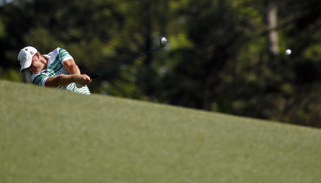 Jamie Donaldson, of Wales, hits off the second fairway during the first round of the Masters golf tournament Thursday, April 10, 2014, in Augusta, Ga. (AP Photo/Matt Slocum)