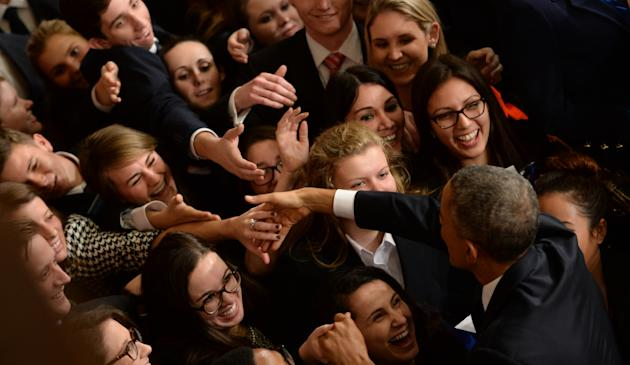 US President Barack Obama departs following his State of the Union address in Washington, DC (AFP Photo/Jim Watson)