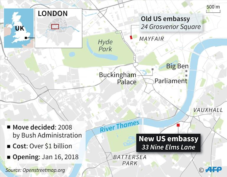 Map of London locating the old and new US embassies (AFP Photo/Gillian HANDYSIDE)