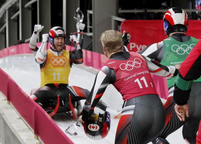 Luge - Pyeongchang 2018 Winter Olympic Games - Team Relay - Pyeongchang, South Korea - February 15, 2018 - The Canada team celebrate. REUTERS/Arnd Wiegmann