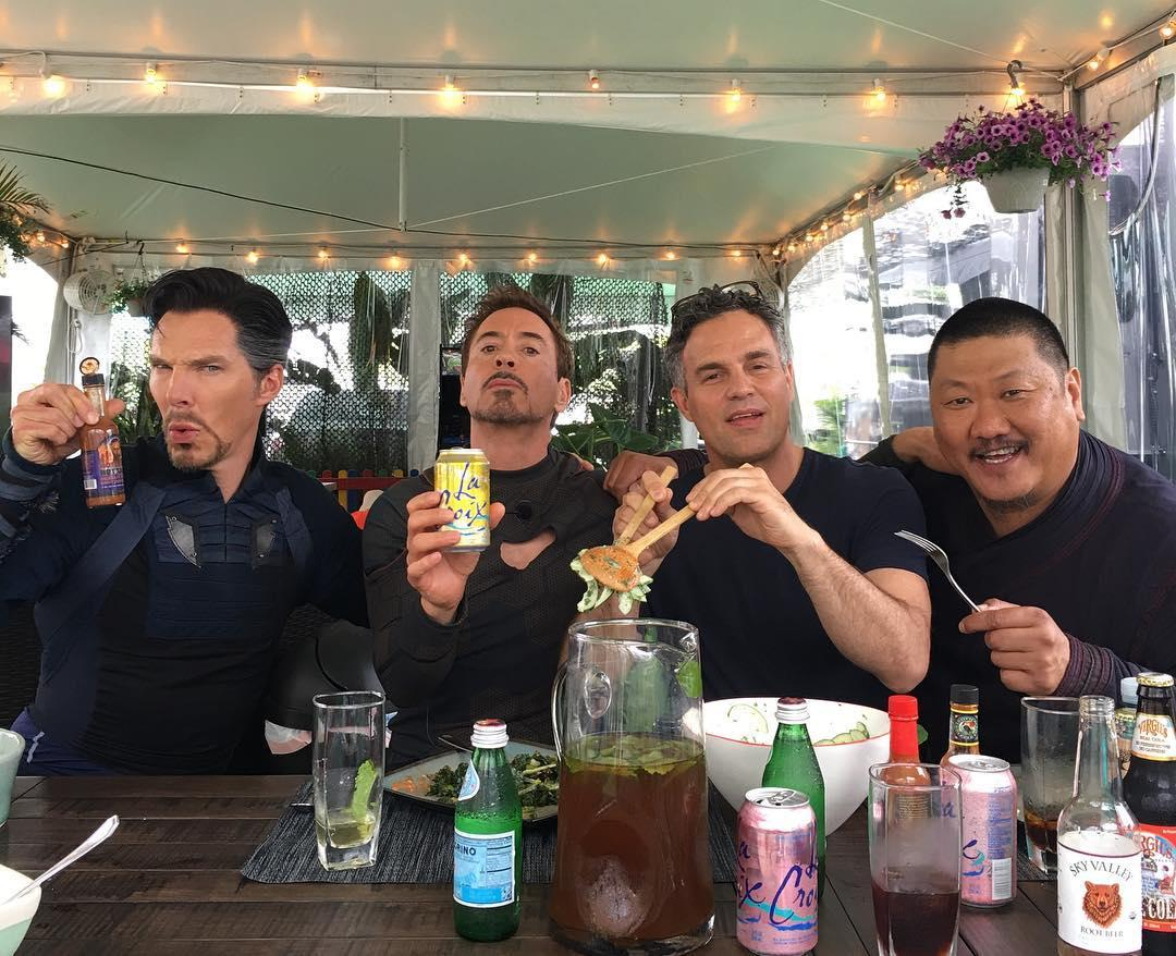 "<p>Iron Man Downey posted this photo during a June 21 lunch break with fellow heroes Stephen Strange, Bruce Banner, and Wong. The caption: ""Forks, tongs, cans + bottles + a Wong…"" (Photo: <a rel=""nofollow"" href=""https://www.instagram.com/p/BVm5j5MDKi_/"">robertdowneyjr/Instagram</a>) </p>"