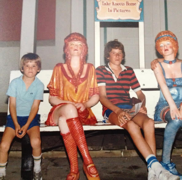 """<p>Ryan Reynolds (left), making a joke about his family outings back in the day: """"When I was 5 years old, my Dad used to take us to Knott's Berry Farm to meet girls. Only now, as I look back on this photo do I realize, my brother wasn't real."""" -<a href=""""https://instagram.com/p/7LMoZmN_gW/"""" rel=""""nofollow noopener"""" target=""""_blank"""" data-ylk=""""slk:@vancityreynolds"""" class=""""link rapid-noclick-resp"""">@vancityreynolds</a> (Instagram)<b><br></b></p>"""