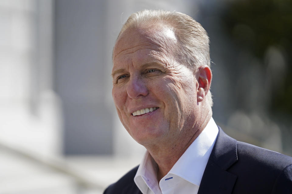 FILE - In this Sept. 8, 2021, file photo, California gubernatorial candidate and former San Diego mayor Kevin Faulconer talks with reporters in San Francisco. California Republicans are looking to quickly move on from a recall election that saw Democratic Gov. Gavin Newsom reinforce his political clout and add to the long list of Election Day disappointments for the state GOP. A three-day convention of party delegates that starts Friday, Sept. 24, 2021, will include its share of soul searching and finger-pointing, with the party facing the truth that Republicans have been unable to win a statewide race in California since 2006. (AP Photo/Eric Risberg, File)