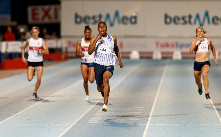 Olympics 800 metres champion Caster Semenya (C) wins the 200m final at provincial championships in Pretoria this weekend
