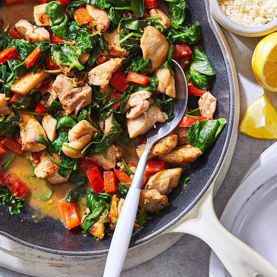 "<p>This simple, ultra-quick chicken dinner--packed with spinach and peppers--is delicious on its own or served over brown rice or your favorite pasta. <a href=""http://www.eatingwell.com/recipe/278875/skillet-lemon-chicken-with-spinach/"" rel=""nofollow noopener"" target=""_blank"" data-ylk=""slk:View recipe"" class=""link rapid-noclick-resp""> View recipe </a></p>"