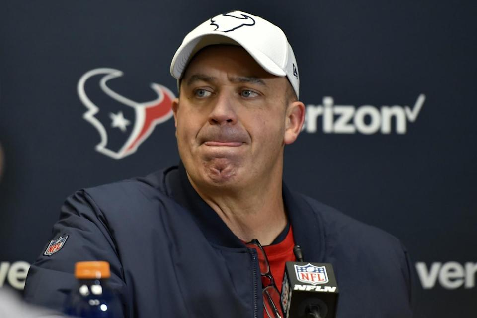 Former Houston Texans coach Bill O'Brien looks on during a news conference in January 2020.