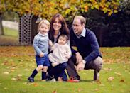 <p>The Duke and Duchess of Cambridge are all smiles with their two children in late October 2015 at home at Kensington Palace. The family chose this portrait for their Christmas card later that holiday season. </p>