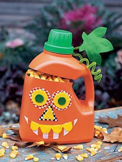 """<p>A plastic laundry detergent container becomes a pumpkin with a few easy steps. </p><p><strong><em><a href=""""https://www.womansday.com/home/crafts-projects/how-to/a2801/gourd-o-1279/"""" rel=""""nofollow noopener"""" target=""""_blank"""" data-ylk=""""slk:Get the Pumpkin Bottle tutorial"""" class=""""link rapid-noclick-resp"""">Get the Pumpkin Bottle tutorial</a>. </em></strong></p><p><a class=""""link rapid-noclick-resp"""" href=""""https://www.amazon.com/Creativity-Street-Chenille-Cleaners-100-Piece/dp/B000RY70N4?tag=syn-yahoo-20&ascsubtag=%5Bartid%7C10070.g.2488%5Bsrc%7Cyahoo-us"""" rel=""""nofollow noopener"""" target=""""_blank"""" data-ylk=""""slk:SHOP CHENILLE STEMS"""">SHOP CHENILLE STEMS</a></p>"""
