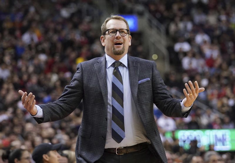 Toronto Raptors Terence head coach Nick Nurse reacts on the sideline during fourth-quarter NBA basketball game action against the Oklahoma City Thunder in Toronto, Sunday, Dec. 29, 2019. (Hans Deryk/The Canadian Press via AP)