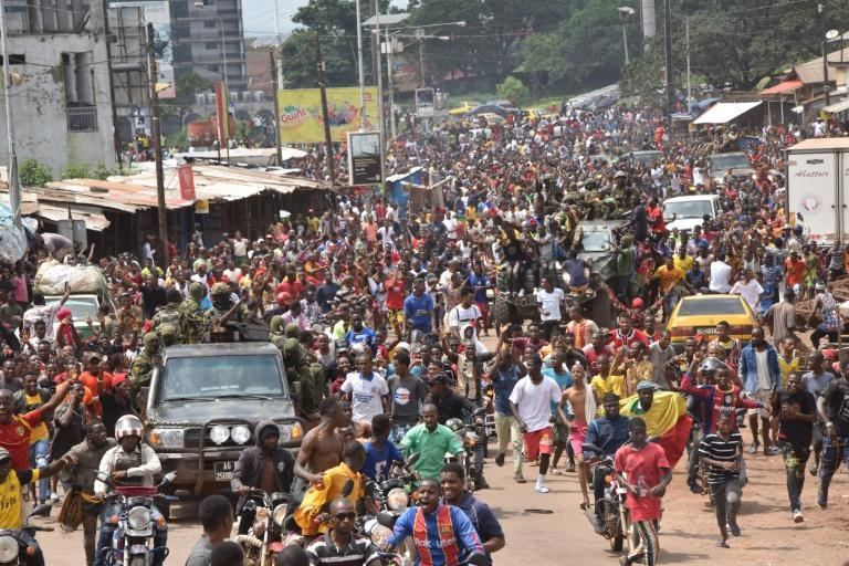Jubilation erupted in some districts of Conakry after the military took power (AFP/CELLOU BINANI)