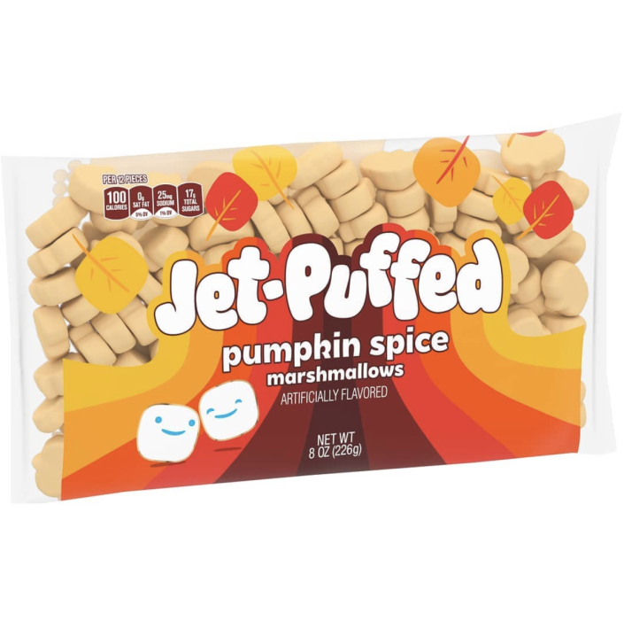 """<p>These marshmallows are back <a href=""""https://www.delish.com/food-news/a33435740/pumpkin-spice-marshmallows/"""" rel=""""nofollow noopener"""" target=""""_blank"""" data-ylk=""""slk:with a whole new look"""" class=""""link rapid-noclick-resp"""">with a whole new look</a>! As summer slowly turns into fall, well, we think these would probably make a perfect s'more.</p>"""