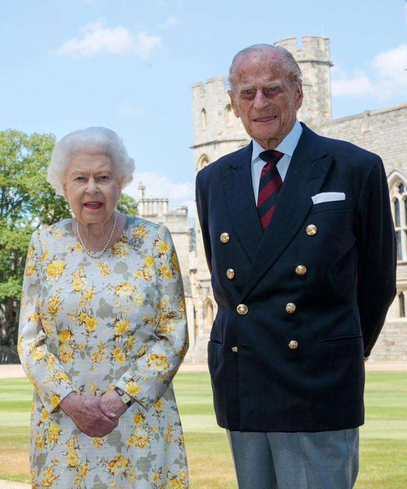 <p>Taken on Monday June 1 to mark the Duke of Edinburgh's 99th birthday in the quadrangle of Windsor Castle. The Queen is wearing a floral dress designed by Angela Kelly with her Cullinan V diamond brooch while the Duke is wearing a Household Division tie.</p>