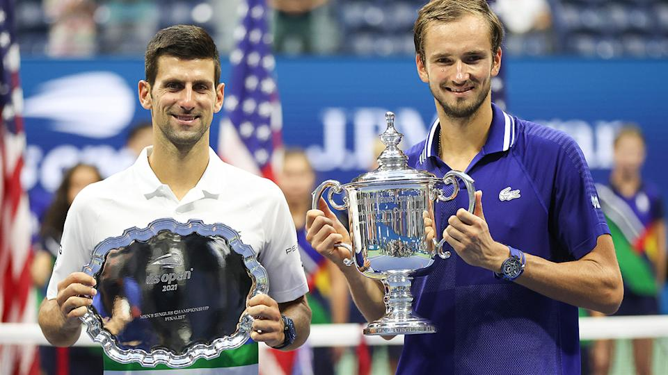 Novak Djokovic and Daniil Medvedev, pictured here after the US Open final.