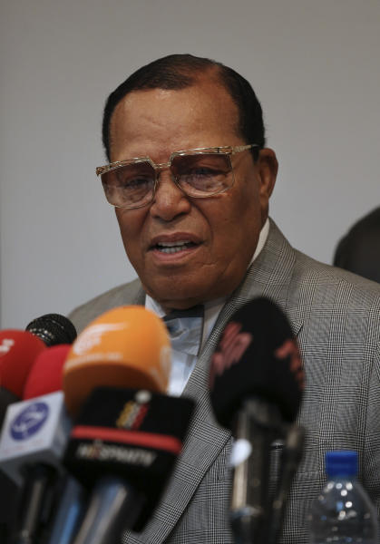 "Minister Louis Farrakhan, the leader of the Nation of Islam, speaks at a press conference in Tehran, Iran, Thursday, Nov. 8, 2018. Farrakhan warned President Donald Trump not to pull ""the trigger of war in the Middle East, at the insistence of Israel."" (AP Photo/Vahid Salemi)"