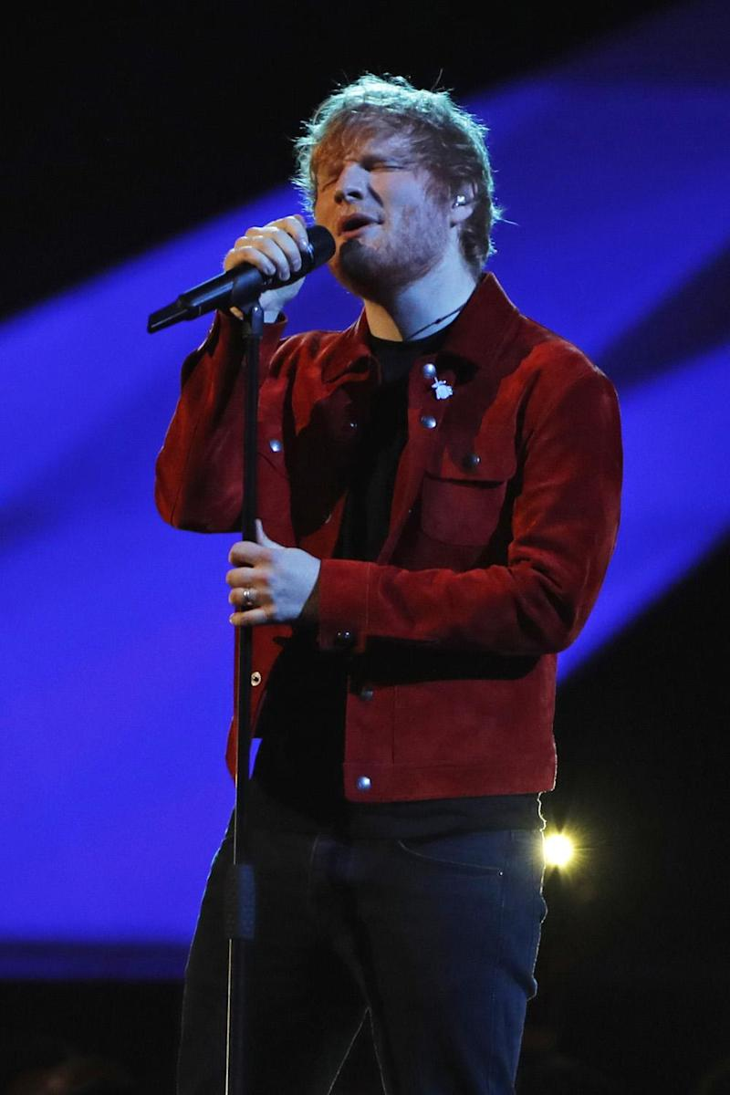 Global Success: Ed Sheeran performing Supermarket Flowers on stage (Dave Benett)