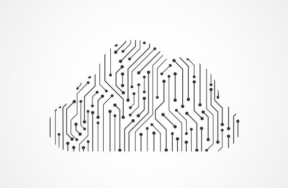 Graphic of cloud with computer circuits on it.