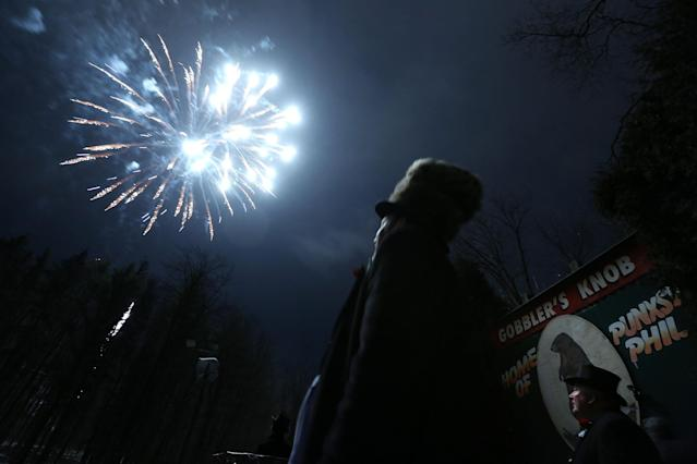 PUNXSUTAWNEY, PA - FEBRUARY 02: Fireworks are seen during the 127th Groundhog Day Celebration at Gobbler's Knob on February 2, 2013 in Punxsutawney, Pennsylvania. The Punxsutawney 'Inner Circle' claimed that there were about 35,000 people gathered at the event to watch Phil's annual forecast. (Photo by Alex Wong/Getty Images)