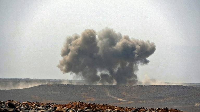 Smoke billows during clashes between forces loyal to Yemen's Saudi-backed government and Huthi rebel fighters in Yemen's northeastern province of Marib on March 5, 2021.
