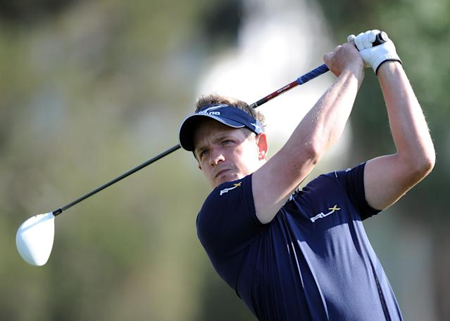PACIFIC PALISADES, CA - FEBRUARY 19: Luke Donlad of England his a driver on the second hole during the fourth round of the Northern Trust Open at the Riviera Country Club on February 19, 2012 in Pacific Palisades, California. (Photo by Harry How/Getty Images)