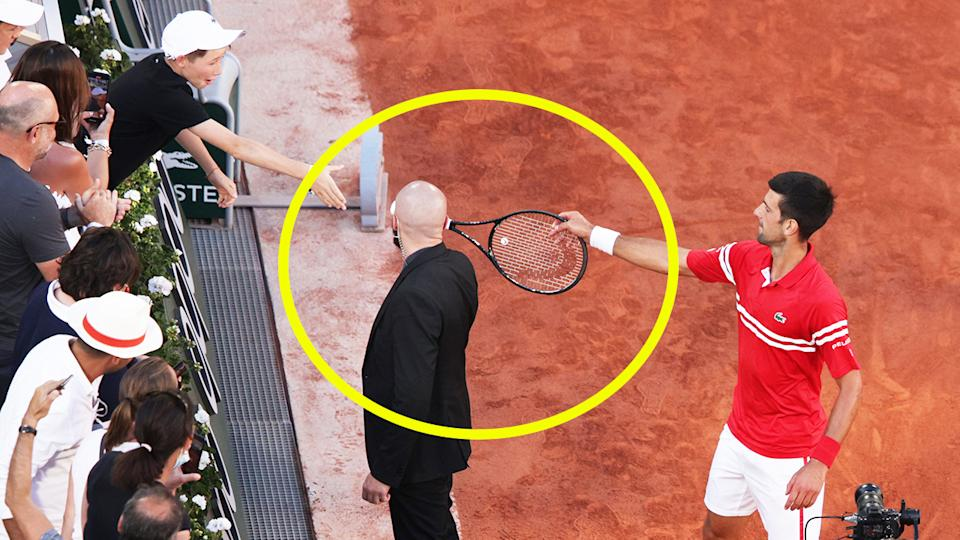 Novak Djokovic (pictured right) hands his racquet over to a fan in the stand after his Roland Garros victory.