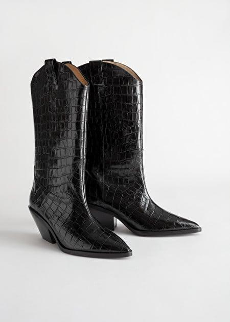 <p>These <span>& Other Stories Croc Embossed Leather Cowboy Boots</span> ($139, originally $279) are very cool.</p>