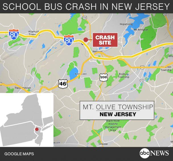 PHOTO: A locator map shows the location of a fatal school bus crash in Mt. Olive Township, N.J., May 17, 2018. (ABC News)