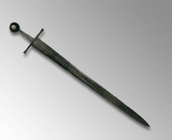 This 13th-century sword with a gold inscription was likely made in Germany, but was found at the bottom of the River Witham in 1825.