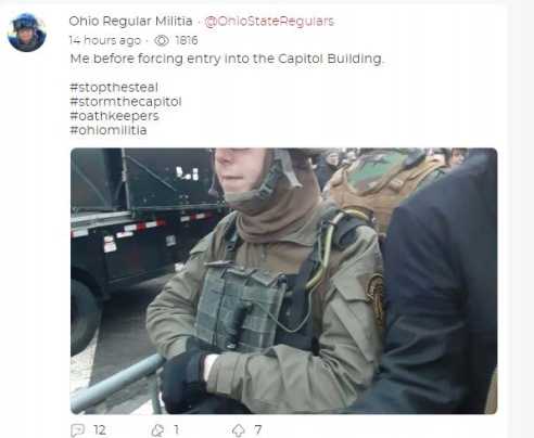 An image federal investigators say Jessica Watkins posted of herself wearing tactical gear before the Jan. 6 Capitol riot / Credit: FBI