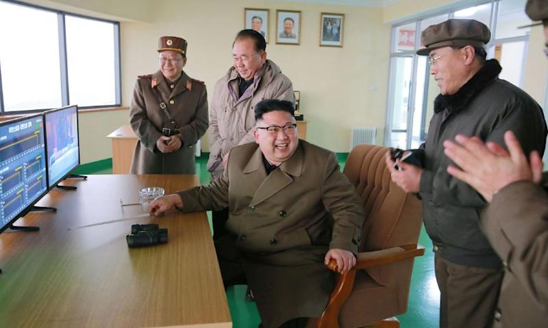 North Korea leader Kim Jong-un overseeing the successful rocket engine test.