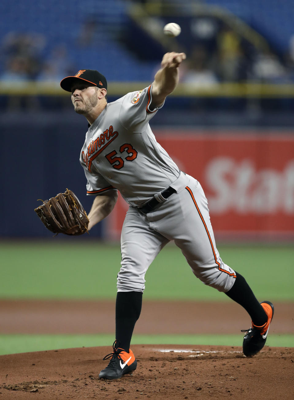 Baltimore Orioles' Ty Blach pitches to the Tampa Bay Rays during the first inning of the first baseball game of a doubleheader Tuesday, Sept. 3, 2019, in St. Petersburg, Fla. (AP Photo/Chris O'Meara)