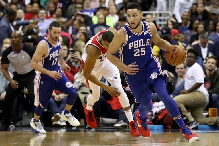 Ben Simmons of the Philadelphia 76ers, seen in action during their game against the Washington Wizards, at Capital One Arena in Washington, DC, on October 18, 2017