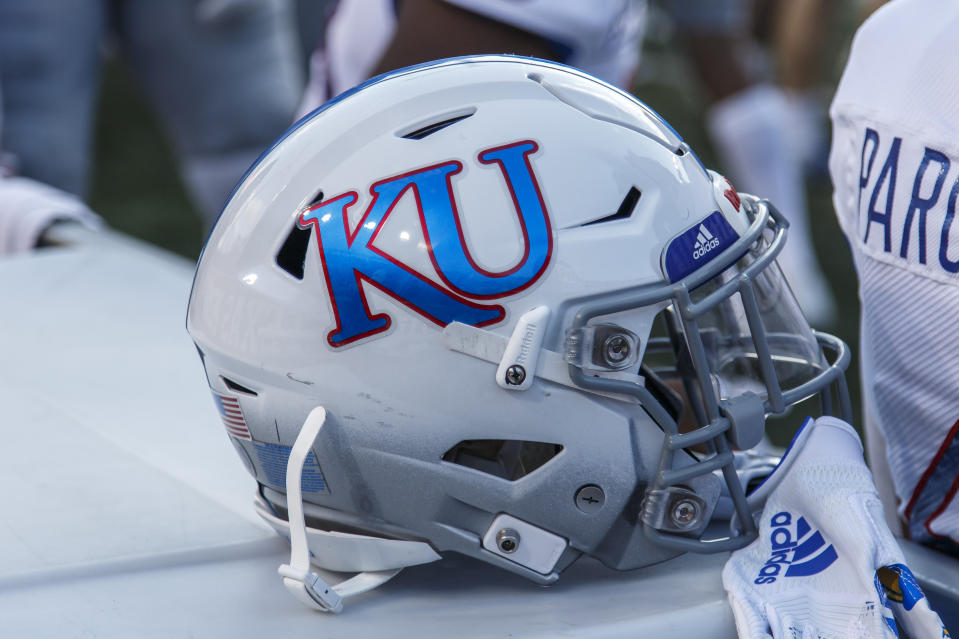 AUSTIN, TX - OCTOBER 19: Kansa Jayhawks helmet on the sidelines during the NCAA football game between Kansas Jayhawks and the Texas Longhorns held October 19, 2019 at the Darrell K Royal-Texas Memorial Stadium in Austin TX. (Photo by Allan Hamilton/Icon Sportswire via Getty Images)