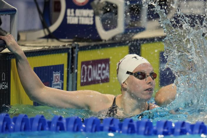 Lilly King reacts after winning the Women's 100 Breaststroke during wave 2 of the U.S. Olympic Swim Trials on Monday, June 14, 2021, in Omaha, Neb. (AP Photo/Jeff Roberson)