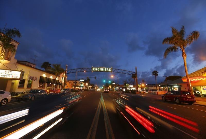 Traffic flows along Coast Highway 101 through San Diego's North County beach town of Encinitas