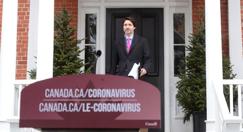 Prime Minister Justin Trudeau addresses Canadians on the COVID-19 pandemic from Rideau Cottage in Ottawa on April 8, 2020. (Photo: Sean Kilpatrick/CP)