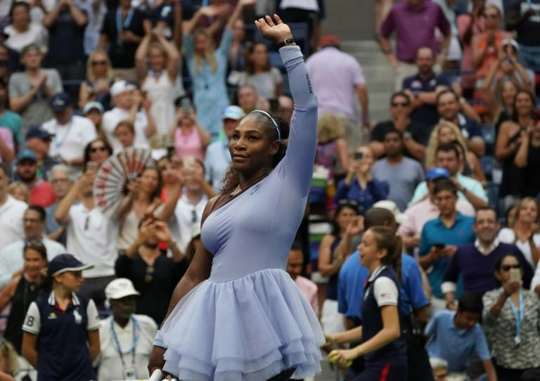 Milestone quest: Serena Williams celebrates her US Open fourth-round win over Kaia Kanepi on Sunday