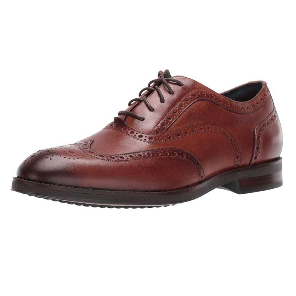 """<p><strong>Cole Haan</strong></p><p>zappos.com</p><p><strong>$119.00</strong></p><p><a href=""""https://go.redirectingat.com?id=74968X1596630&url=https%3A%2F%2Fwww.zappos.com%2Fp%2Fcole-haan-lewis-grand-2-0-wing-tip-oxford%2Fproduct%2F9306373&sref=https%3A%2F%2Fwww.menshealth.com%2Fstyle%2Fg19545927%2Fbest-dress-shoes%2F"""" rel=""""nofollow noopener"""" target=""""_blank"""" data-ylk=""""slk:BUY IT HERE"""" class=""""link rapid-noclick-resp"""">BUY IT HERE</a></p><p>If you're looking for a dress shoe that feels like a sneaker, Cole Haan's dress shoes are not to be missed. Cole Haan uses a hyper-cushioned sole so your feet feel supported. <br></p>"""