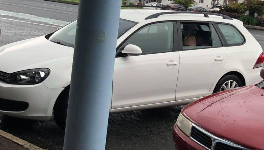 A passerby noticed the girl alone in the car parked in a busy shopping centre's car park. Source: Facebook