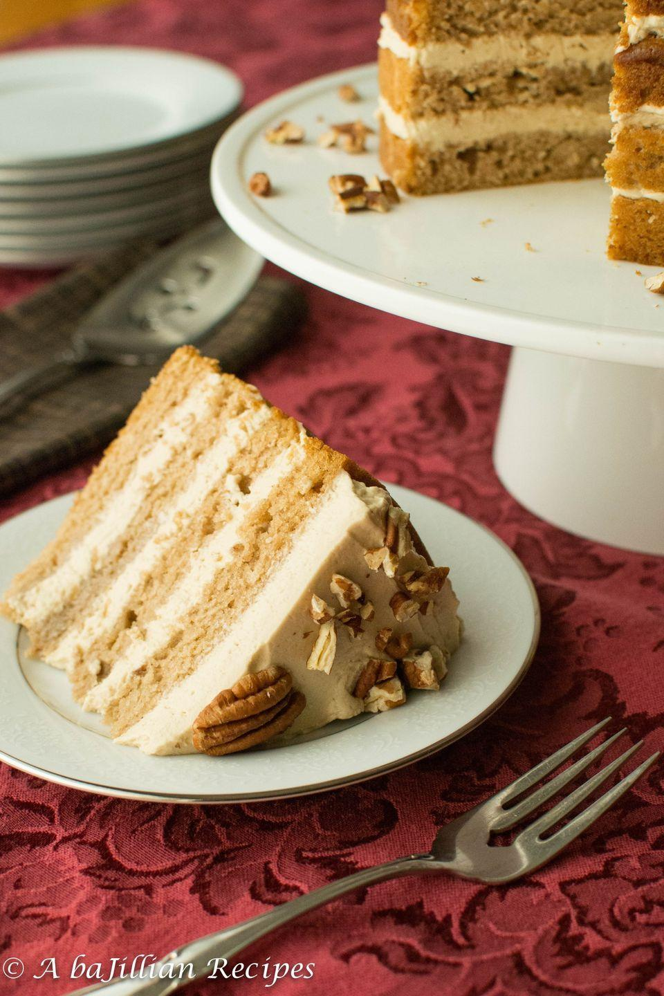 """<p>You know it's good when the frosting is legit as thick as the cake.</p><p>Get the recipe from <a href=""""http://www.abajillianrecipes.com/2015/08/31/fresh-pear-cake/"""" rel=""""nofollow noopener"""" target=""""_blank"""" data-ylk=""""slk:A Bajillian Recipes"""" class=""""link rapid-noclick-resp"""">A Bajillian Recipes</a>.</p>"""