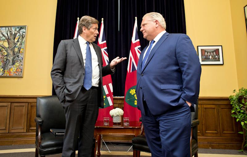 TORONTO, ONTARIO- JULY 9, 2018: Premier Doug Ford meets with Toronto Mayor John Tory at his Queenâs Park office Monday afternoon. (Lucas Oleniuk/Toronto Star via Getty Images)