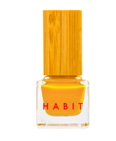 """<h3>Habit Cosmetics 42 Cavalier</h3><br>Not only is this honey-mustard orange a fashionable add to your polish collection, the formula is <a href=""""https://www.refinery29.com/en-us/best-non-toxic-nail-polish"""" rel=""""nofollow noopener"""" target=""""_blank"""" data-ylk=""""slk:non-toxic and vegan"""" class=""""link rapid-noclick-resp"""">non-toxic and vegan</a>, and the cute bamboo-capped bottle is sustainably packaged using post-recycled plastic.<br><br><strong>Habit Cosmetics</strong> Non-Toxic + Vegan Nail Polish in 42 Cavalier, $, available at <a href=""""https://go.skimresources.com/?id=30283X879131&url=https%3A%2F%2Fwww.habitcosmetics.com%2Fcollections%2Fhabit-cosmetics-nail-polish%2Fproducts%2F42-cavalier%3Fvariant%3D24907501648"""" rel=""""nofollow noopener"""" target=""""_blank"""" data-ylk=""""slk:Habit Cosmetics"""" class=""""link rapid-noclick-resp"""">Habit Cosmetics</a>"""