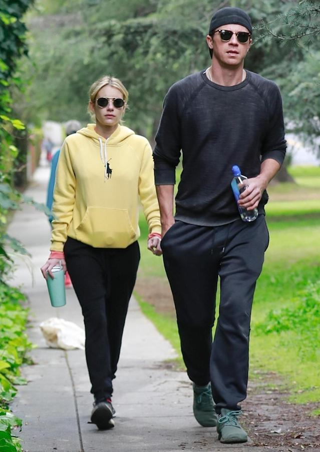 <p>Emma Roberts and her boyfriend Garrett Hedlund take a hike on the hills of the Griffith Observatory in Los Angeles on Thursday.</p>