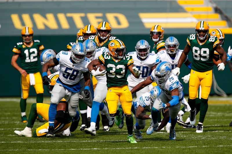 Green Bay Packers' Aaron Jones runs for a touchdown during the second half against the Detroit Lions Sunday, Sept. 20, 2020, in Green Bay, Wis.