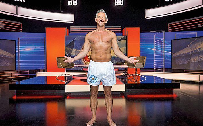 Lineker on Match of the Day in just his boxer shorts, 2016 - Guy Levy/BBC