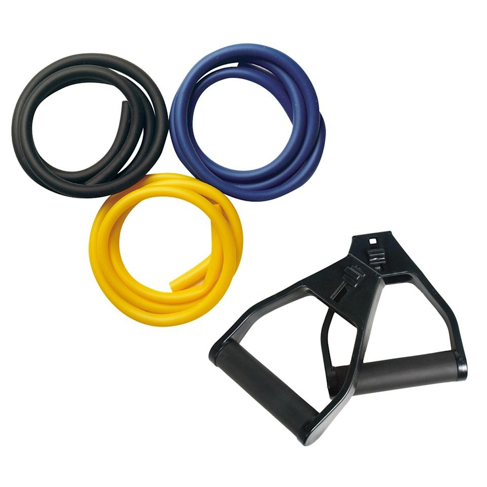 """<h3>Everlast 3-pk. Resistance Tubes</h3><br>Customize your intensity level with this trio of light, medium, and heavy tubes that you can attach to handles for targeted moves.<br><br><br><strong>Everlast</strong> 3-pk. Resistance Tubes, $, available at <a href=""""https://go.skimresources.com/?id=30283X879131&url=https%3A%2F%2Fwww.kohls.com%2Fproduct%2Fprd-1309767%2FEverlast-3-pk--Resistance-Tubes.jsp"""" rel=""""nofollow noopener"""" target=""""_blank"""" data-ylk=""""slk:Kohl's"""" class=""""link rapid-noclick-resp"""">Kohl's</a>"""