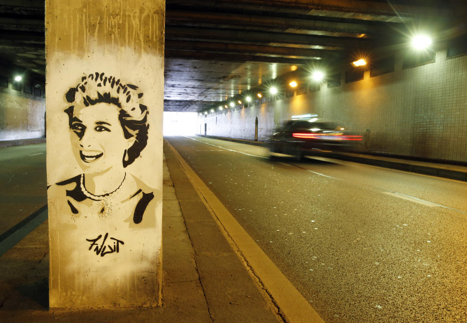 A portrait in tribute to Princess Diana by the French street artist alias